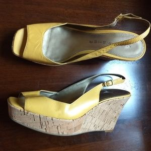Shoes - 4/$25 Marc Fisher Mustard Cork Wedge 8 1/2